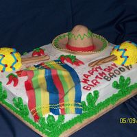 Fiesta Cake This birthday was celebrated by a 4yr old who wanted all the trimmings. It was a challenge to make the maracas but the rest was fun.