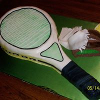 Tennis Racquet Borrowed my neighbors tennis racquet to make a template for this one. Thanks to all my CC buddies, I decided to do the racquet strings (the...