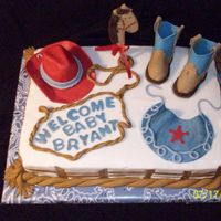 Cowboy Baby Shower Requested western cowboy theme for baby shower. First time for rope border, cowboy hat & boots which were done in fondant as accents on...