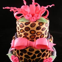 Leopard Cake This is a cake that was inspired by Cakes by Allison and Cyndi1207. This is a fondant finish with hand-painted leopard spots with a fondant...