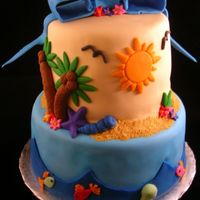 "Holley's Cake This is a cake that was inspired by all of the great ""Hawaiian"" themed cakes that are on this site. This is a fondant finish,..."