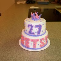 Pink & Purple Birthday Cake Choclate cake w/bc icing & fondant accents.