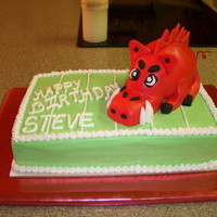 Razorback Birthday Cake Cake made for a friend at work who loves the Razorbacks.