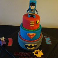 Supehero Birthday Cake, Batman , Superman, Robin  This cake i made for my son's 4th bday, He LOVES superheroes so it was perfect...got many ideas from the site :) Dont mid the top tier...
