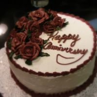 Happy Anniversary Buttercream roses in burgandy with gold dust sprinkled on top