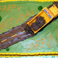 Happy Birthday Darrin 1/4 Sheet cake with dump truck for 3yr old birthday