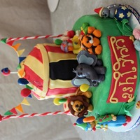 Circus Cake All of my inspiration came from here on Cake Central, thank you all! Cake is french vanilla with banana split filling. Top of tent is RKT....