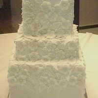 3 Tier Wedding Square All buttercream with fondant flowers and leaves.TFL