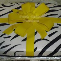 Zebra Print Sheetcake   Zebra print sheetcake. Buttercream iced with fondant bow and black stripes. Saw one similiar to this on CC thanks for the inspiration.TFL