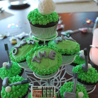 Over The Hill Golf Cupcakes   Made golf decorations using fondant