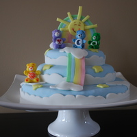 Care Bear Birthday Cake  This is the Care Bear birthday cake for my daughter's 2nd birthday party. All decorations on the cake were made from fondant, and the...