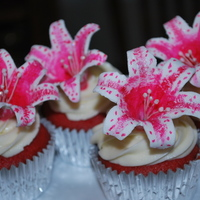 Stargazer Lilly Cupcakes   Gumpaste startgazer lilies, painted with food coloring.