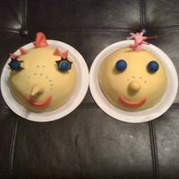 Ms. Spider's And Another Charater   Fondant covered cakes made for my twin nieces for their 1st bday