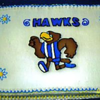 Hawk Kindergarten Orientation Made/Donated cake to school for incoming kindergarten students and parents. Yellow doctored mix with buttercream and colorflow accents