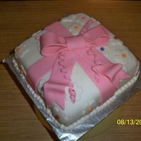 Giftbox Cake With Pink Bow This is from the Fondant and Tiered cake Class (class 3) Too this class to get over my hatred (though hate is a strong word) or my not...