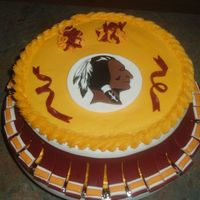 Washington Redskins Cheerleader Buttercream with fondant decorations. for my little sisters birthday.