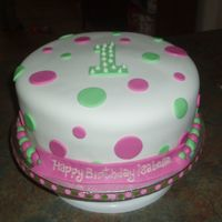 "Polka Dots 10"" covered in fondant. i made a smash cake to match and forgot to take a pic :{ oh well they loved it."