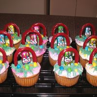 Easter Muffins   with buttercream icing and chocolate rabit at the store