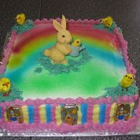 Easter Cake buttercream icing with airbrush color.