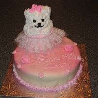 Teddy Bear Girl Was Made For My Nice. It Was My First Mmf. I Was Proud. bear pan. the cake is cover with MMF