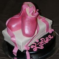 "Ballet Slippers This cake gave me a little bit of a fit. The shoes were made out of rice krispie treats and were heavy for the ""shoebox"" cake..."