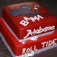 Alabama Baby Shower This cake was for a lady who wanted an Alabama Baby themed cake for her baby shower. Marble cake covered in MMF.