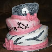 Topsy Turvy Cake was made for a baby shower done in zebra and pink!