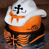 Osu Cake This cake was done for a raffle during the time of the Oklahoma State graduation.