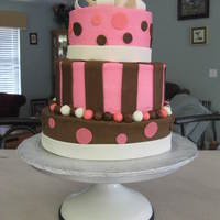 Bridal Shower   3 tier cake 10,8,6. Bottom layer chocolate, layer 2 and 3 are vanilla. Iced with buttercream with fondant accents.