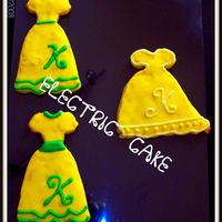 Dress Cookies, Yellow White Green NFSC/Antonia's Icing. Dress cookies I made for my DS's teachers birthday. I used her first initial. They were a suprise because...