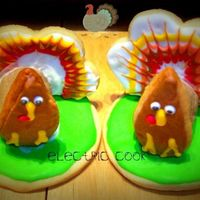 3D Turkey Cookies  3D Turkey Cookies. I used GeminRJ cookie cutter kit and her idea. I used a flower cookie cutter for the back and cut off the bottom. A...