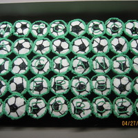 "Soccer Team Party   Made these cupcakes for my son's final game of ""Giant Frog Force"" soccer team party."