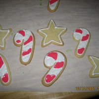 Candy Cane And Stars Cookies   Frosted sugar cookies. First time I made them. Not bad.