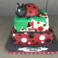 Ladybug Birthday Cake French vanilla with buttercream and mmf accents for a little girl's 1st birthday. Ladybug on top was her 'smash' cake. TFL...