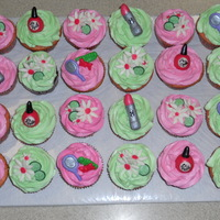 Spa Themed Cupcakes French vanilla cupcakes with a strawberry filling for a little girl's spa themed birthday party. I love how they turned out!
