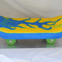 Skateboard Birthday Cake First attempt at anything like this! My husband built a special cake board for it. FV cake with B/C.