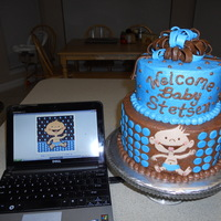 Baby Shower Cake To match shower favors. The picture on my laptop is of the napkins. Cake covered in B/C with MMF accents. Baby on cake done freehand. TFL...