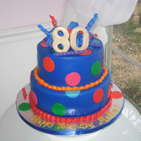 "80Th Birthday Party Cake  This is a 2 tier (10"" and 8"") cake covered in fondant with fondant accents. Curlies and 80 made with gumpaste. Thanks for looking..."