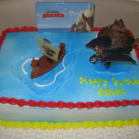 How To Train Your Dragon   This was just your basic design using a kit for the movie. It was a 1/4 chocolate sheet cake with butter cream icing. TFL