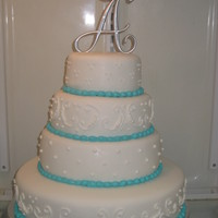 White/aqua Wedding Cake