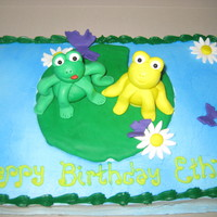 Frog Brownies  This is a pan of brownies that the customer wanted decorated like I had done on an earlier cake. The frogs and accents are made from...
