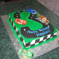 Cars Cake This birthday was for a little boy who loves the movie Cars. It is a chocolate 1/4 sheet cake covered with bc and fondant accents. Cars are...