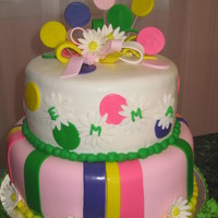 "Emma's Polka Dot Cake   This is a 2 tier (10"" and 8"") cake covered in fondant with fondant decorations. Made for a little girl's birthday. TFL"