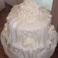 Fondant Anniversary Cake Couple wanted to have their wedding cake replicated (minus 1 tier) for their anniversary. It is white cake with vanilla bc covered in white...
