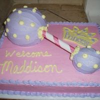 "Princess Rattle Cake sheet cake with ""rattle"" on top...used ball pan and mini ball pan"