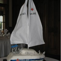 Sail Boat this is a wedding cake for a couple that love sailing. Its a replica of their boat