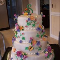 Butterfly And Flowers Birthday Cake  WBH white cake with strawberry filling, and mmf. Flowers and butteflies are gumpaste. This was for a very large birthday party and is my...
