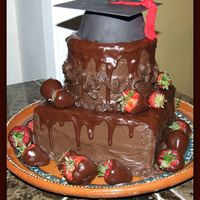 Double Chocolate Grad Cake Chocolate cake with hershey syrup frosting with chocolate glaze.