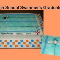 Swimmer's Grad Cake This was made for a girl who has been a swimmer through high school. Cake covered in buttercream. Details in fondant with tylose.