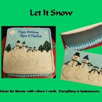 Let It Snow WASC with lemon pudding filling covered in bc. All decorations are bc. As always, my inspiration came from many of the cakes here on CC.